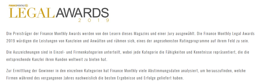 legal award finance monthly